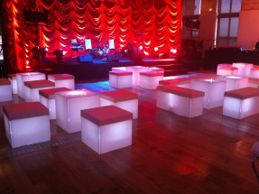 LED Cube Seats with Red Pads