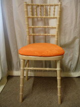 Limed Oak Chiavari Chair with Orange Pad
