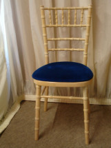 Limed Oak Chiavari Chair with Royal Blue Pad