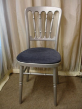 Silver Chair with Navy Blue Pad