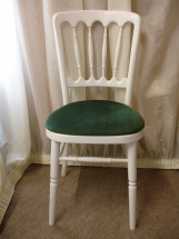 White Banqueting Chair with-Forest Green Pad