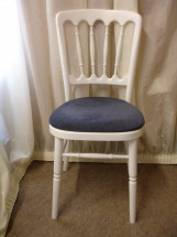 White Banqueting Chair with Navy Blue Pad
