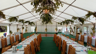 Unlined Marquee with Foliage in Roof
