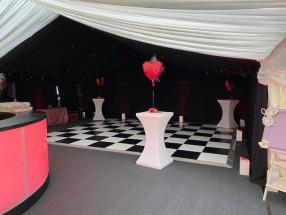 LED Poseur Tables, Starlight Ceiling & Black & White Floor