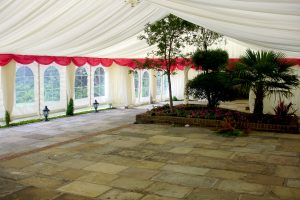 Marquee on Patio Over Trees