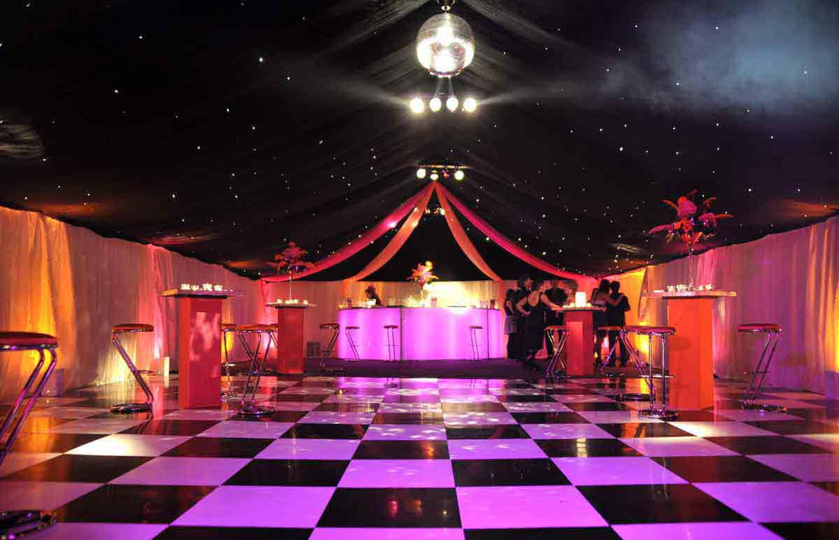 Starlight Marquee with Black White Dance Floor