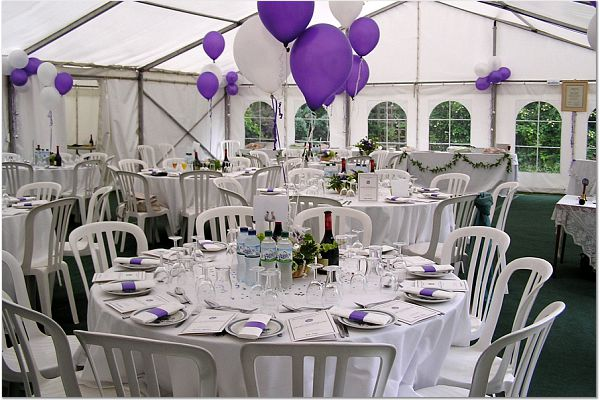 Unlined Marquee with Purple Balloons