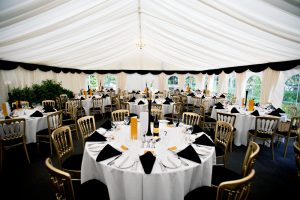 Ivory Pleated Linings Marquee with Black Pelmets