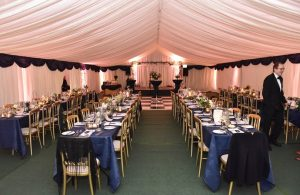 Marquee lined school hall